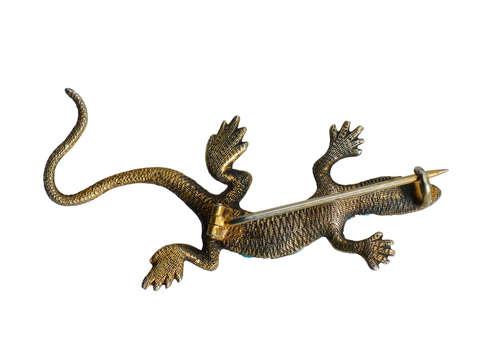 Victorian Pavé Turquoise Lizard Brooch Pendant