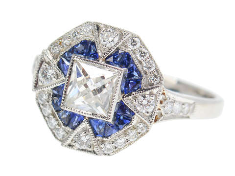 Indigo Wish - Sapphire Diamond Unique Halo Ring
