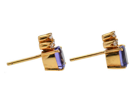 Vintage Tanzanite Diamond Earrings