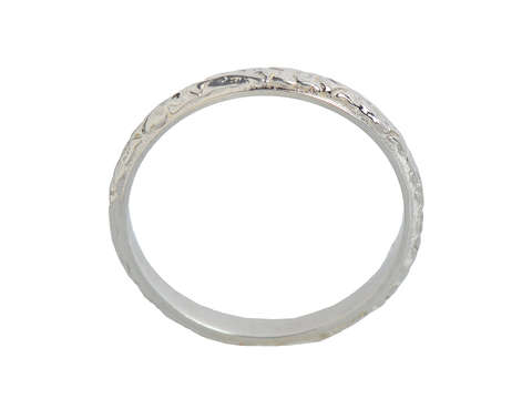 Vintage White Gold Patterned Wedding Band