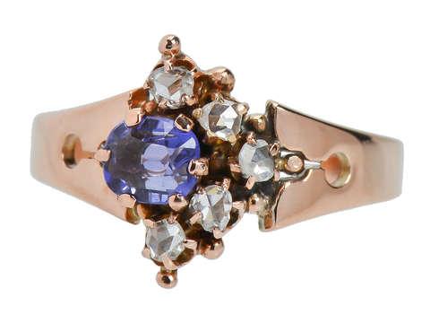 Victorian Purple Sapphire Diamond Ring