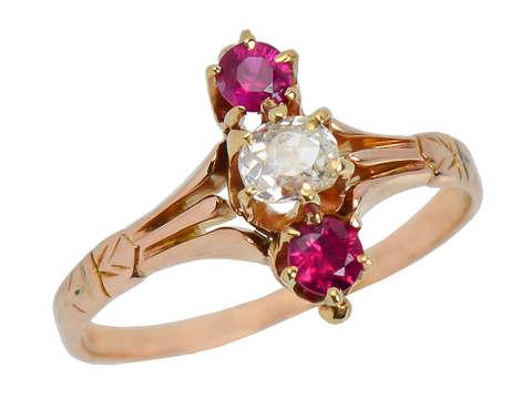 Victorian Antique Ruby Diamond Ring