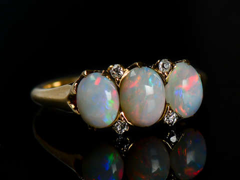 Edwardian Triple White Opal Ring Jones & Woodland