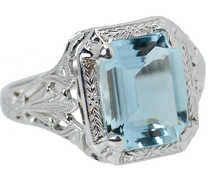 Vintage Aquamarine Filigree Ring of 1930s