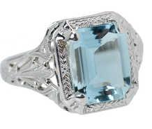 Vintage Aquamarine Filigree Ring of 1930s