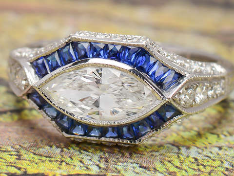 Vintage Inspired Sapphire Marquise Diamond Ring