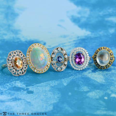 Inner Light Moonstone Diamond Ring