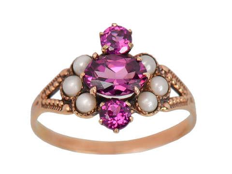 Raspberry Fields - Antique Garnet Pearl Ring