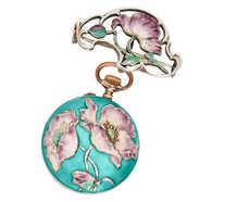 Art Nouveau Poetry - Enamel Watch Pendant & Holder