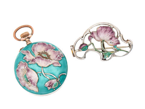 Art Nouveau Poetry - Enamel Watch Pendant & Holder