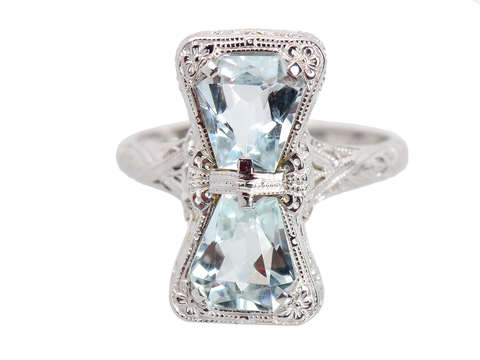 Ribbons of Filigree - Aquamarine Vintage Ring