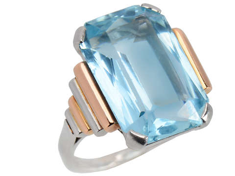French Aquamarine Two Color Ring of 1939