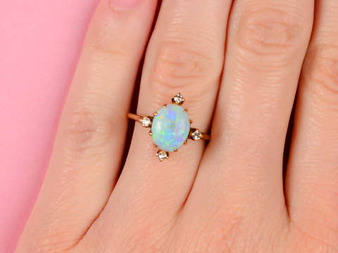 Worlds Collide - Vintage Opal Diamond Ring