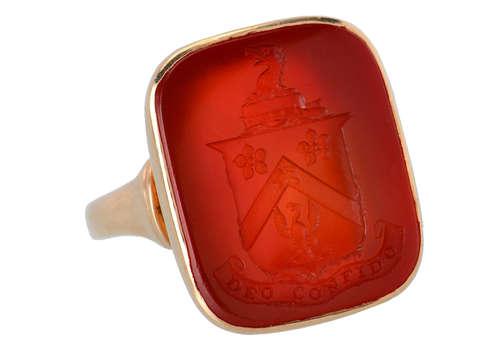 Vintage Carnelian Deo Confido Crest Ring