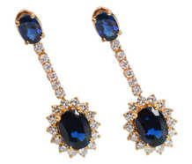 Vintage Sapphire Diamond Halo Earrings