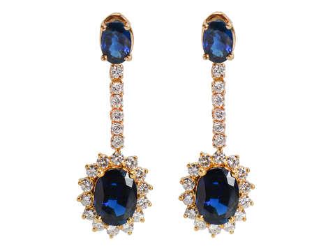Vintage Sapphire Diamond Halo Earrings