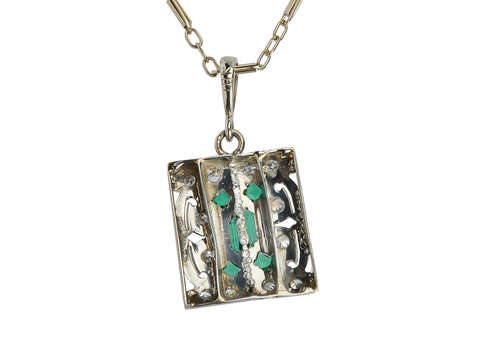 C. 1925 Diamond Emerald Pendant & Chain