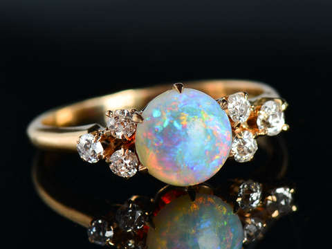 Light Show - Antique Opal Diamond Ring