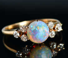 Light Show - Antique Opal Diamond Ring