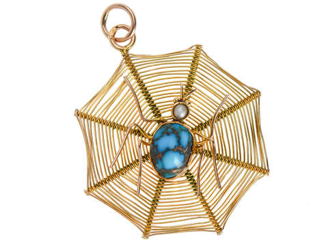 Web of Gold - Turquoise Pearl Spider Pendant