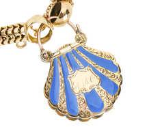 Victorian Enamel Scallop Shell Padlock Bracelet
