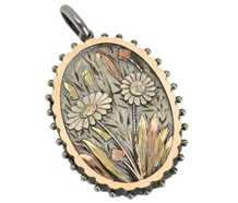 Sunflower Scene - Victorian Silver Locket 1881