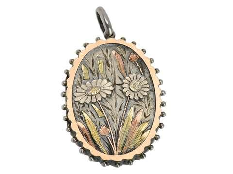 Sunflower Scene - Victorian Silver Locket 1881