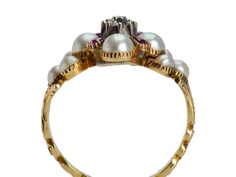Georgian Ruby Natural Pearl Diamond Locket Ring