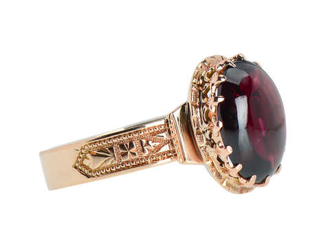 Victorian Garnet Rose Gold Ring Dated 1880
