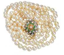 Grand Glam - Triple Strand of Pearls & Emerald Clasp