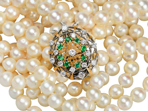 Grand Glam - Triple Strand of Pearls & Emerald Clasp