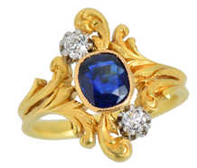 French Art Nouveau Sapphire Diamond Ring