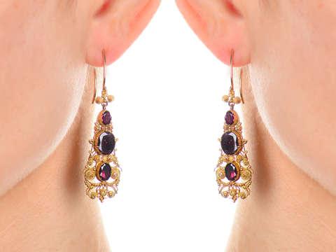 Georgian Garnet Cannetille Dangle Earrings