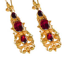 Georgian Garnet Cannetille Dangle Earrings