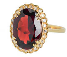 Garnet Gala - Gem Set Estate Diamond Halo Ring