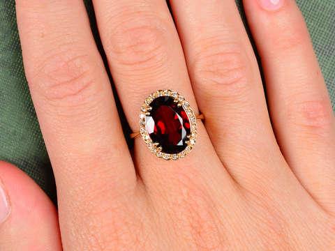 Garnet Gala - Gem Set Estate Diamond Halo Ring
