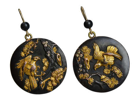 Japonaise Aesthetic - Victorian Shakudo Earrings