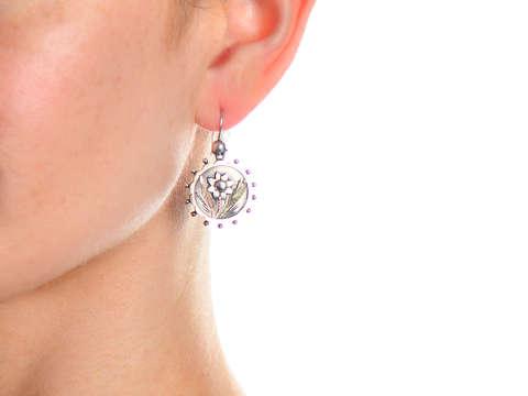 Daisy Silver Antique Victorian Earrings