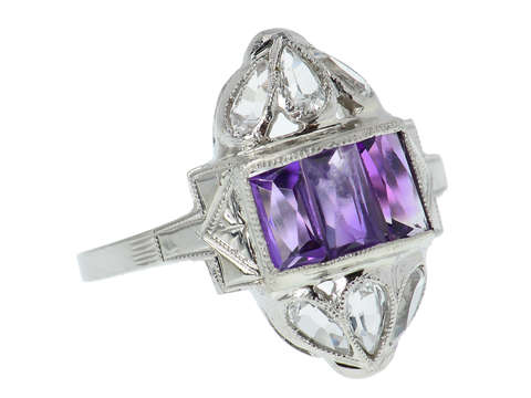 Art Deco Vintage Amethyst & Rock Crystal Ring