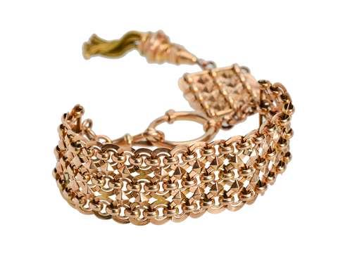 Tassel Trend - Wide Rose Gold Victorian Bracelet