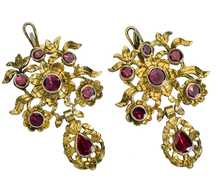 18th Century Bouquet - Garnet Earrings