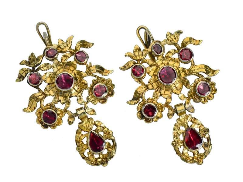 18th Century Bouquet Garnet Earrings