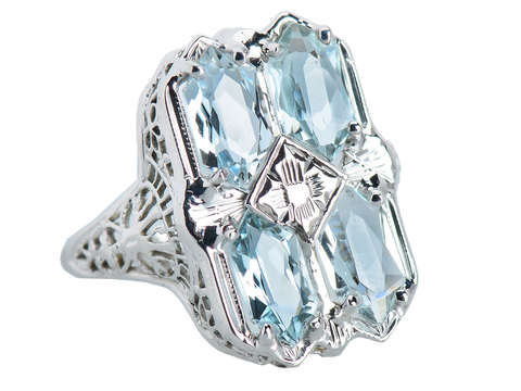 Skies the Limit - Vintage Aquamarine Ring