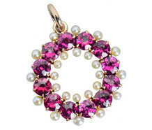 Antique Purple Pink Garnet & Pearl Pendant