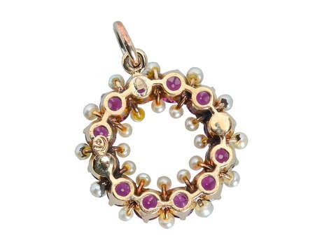 Antique Purple Pink Garnet & Pearl Pendant
