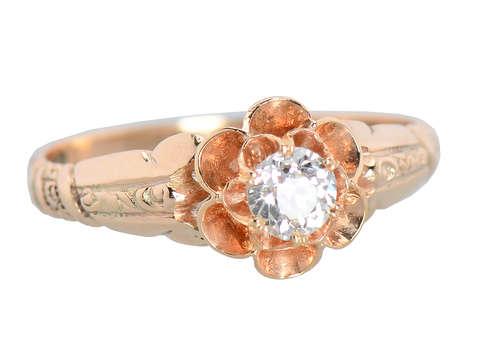 Buttercup Set Diamond Antique Engagement Ring