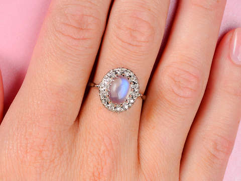 Vintage Blue Moonstone Diamond Halo Ring