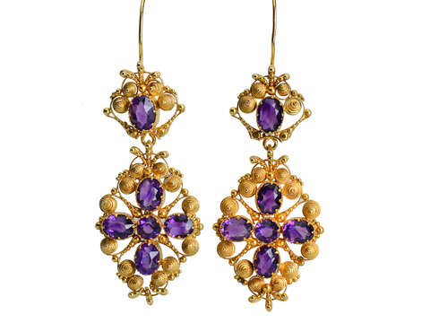 Amethyst Extravaganza - Georgian Cannetille Earrings