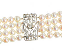 Draped in Pearls - Diamond Wide Bracelet
