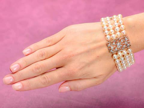 Draped in Pearls - Diamond Wide Bracelet